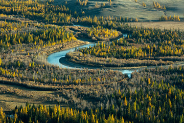 Top view of Chuya river at Altai mountains, Siberia, Russia.