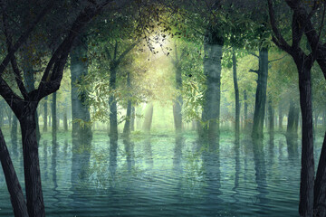 Haunted forest with lake and sunlight background