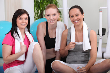 Young women in gym club