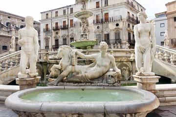 Italy. Sicilia. Fontana Pretoria in Palermo