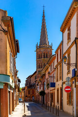 Picturesque streets of the old city Muret on sunny summer day. France