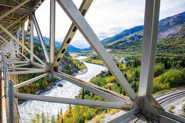 Nenana River Gorge valley view from the bridge in Alaska