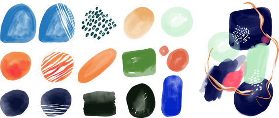 Vector set of abstractions. Various pictorial elements. Brushes, paints, colors, lines. Abstract painting. Bright juicy colors and a lot of textures.