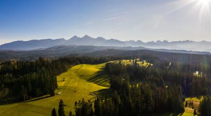 Jesienny Krajobraz Gór - Tatry- ZAKOPANE - pejzaż z lotu ptaka