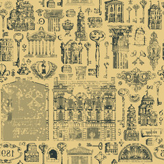 Seamless pattern on the theme of architecture, houses and buildings. A worn-out aged vector background with hand-drawn old buildings, architectural elements, and keys. Wallpaper, wrapping paper