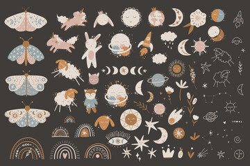 cute illustration. Sun and moon. space children's world. print interior poster. good dreams, baby bedroom