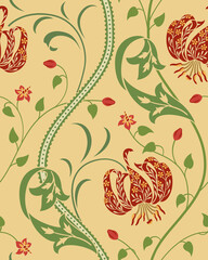 Red big lily seamless pattern on beige background. Vector illustration.