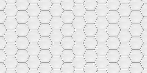 White hexagon ceramic tiles. Modern seamless pattern, white colored hexagon ceramic tiles.