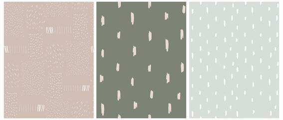 Funny Abstract Geometric Seamless Vector Patterns Set. Simple Doodle Print ideal for Fabric, Textile. Irregular Spots and Lines on a Dark Green, Pastel Mint Blue and Light Brown Background.