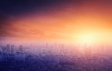 Economy crisis concept: Bangkok city sunrise background