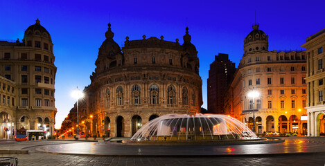 Night light of The Ferrari Square with fountain in Genoa of Italy outdoor.
