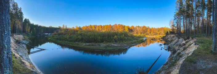 photo, background, panoramic view of the bend of the Kokshaga river in the reserved Mari forest, among coniferous and deciduous trees, Volga region, Russia