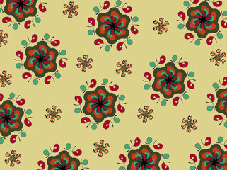 Floral multicoloured patterns on the beige background