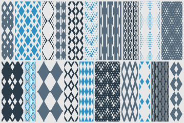 Rhomb seamless geometric vector pattern set, rhombus simple black and white wallpaper background, ethnic folk embroidery or carpet style image collection.