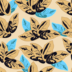 seamless abstract pattern with beige and blue leafs