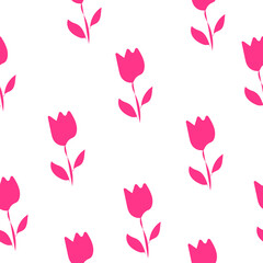 Seamless pattern pink tulips flowers on white background, vector eps 10