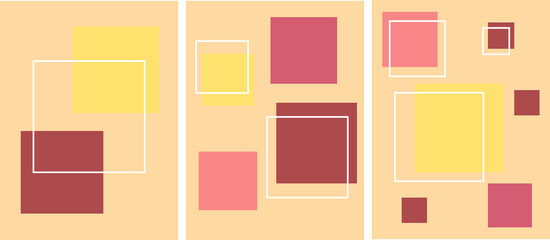 Set of modern minimalistic abstractions on a beige background. Collage of geometric shapes - multi-colored squares. Can be used as a banner or poster. Artistic vector illustration