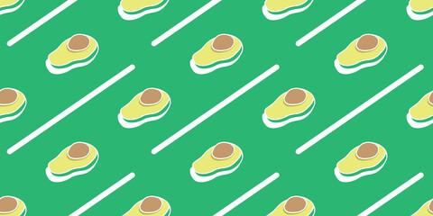 Avocado patterns on green wallpaper, Fruit seamless pattern.