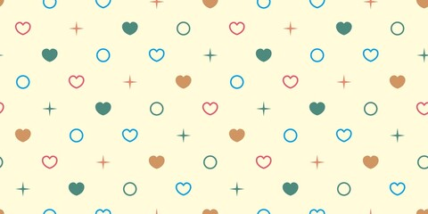 Endless seamless pattern of hearts of different colors, circles and dots. Green blue pink vector hearts on yellow. Wallpaper for wrapping paper. Background for Valentine's Day
