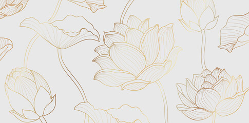 Gold lotus line pattern. Golden design with lotus flower and leaves on white background. Vector illustration.