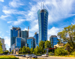 Warsaw Spire office tower of Immofinanz at rising above Wola business district of Warsaw, Poland