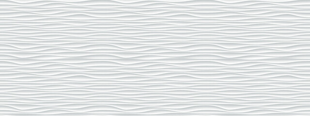 Wall texture wave pattern, white paper background, vector modern seamless abstract decor with surface ripples, geometric cover decoration design