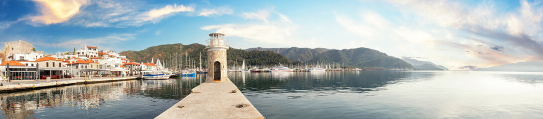Old lighthouse in Marmaris marina in afternoon