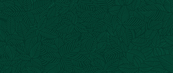 Luxury Nature green background vector. Floral pattern, Tropical plant line arts, Vector illustration.