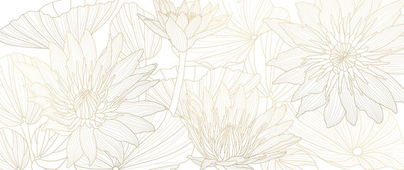 Luxury lotus background vector. Golden lotus line arts design for wall arts, fabric, prints and background texture, Vector illustration.