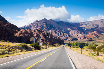 Highway RN 7 leading to mountains of Andes, Argentina, Patagonia, South America