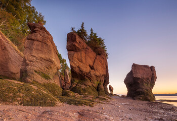 Canada, New Brunswick, Hopewell Rocks. Flowerpot Rocks formed by the great tides of the Bay of Fundy.