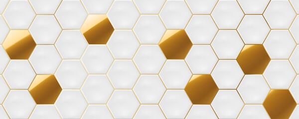 White and gold hexagon ceramic tiles. Modern seamless pattern, white and gold colored hexagon ceramic tiles.