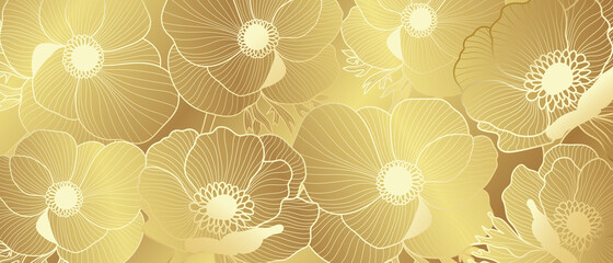 Luxury Gold Anemone flowers background vector.  Botanical Line art Hand Drawn wallpaper, wall art. Vector illustration.