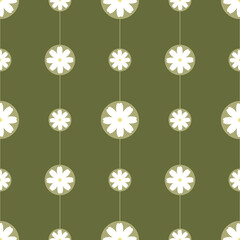 Green floral seamless pattern. Pattern whith spring garden flowers. Flat vector flowers on the green background. Printable for notebook cover and cardboard. Green wallpaper.