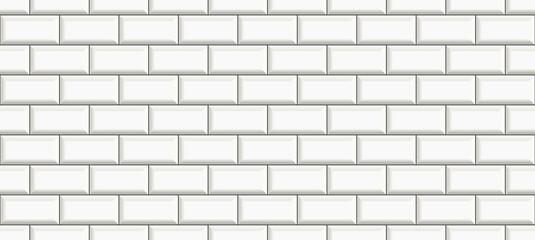 subway tile background. white brick seamless patter for kitchen backsplash, bathroom wall, shower. ceramic vector texture
