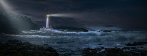 Storm over the sea with lighthouse and beacon.