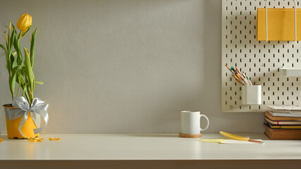 Home interior design, workspace with stationery, flowers pot, cup and copy space