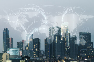Double exposure of abstract digital world map hologram with connections on Los Angeles city skyscrapers background, research and strategy concept