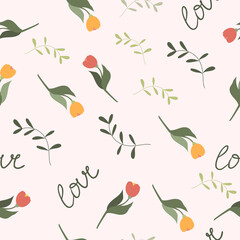 a pattern with tulips and green twigs. Spring seamless pattern with flowers