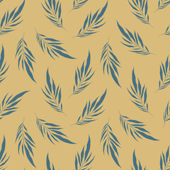 Minimalistic background with blue leaves palm tree on beige backdrop. Modern exotic collage tropical plants seamless pattern. Contemporary vector decoration art