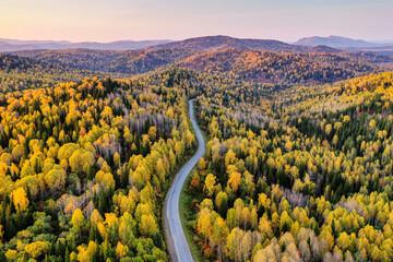Altai mountains in autumn. Cherginsky ridge. Surroundings of Belokurikha resort. Aerial view.
