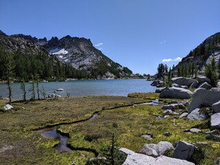 Stream flowing into a lake in the Enchantments, Washington State