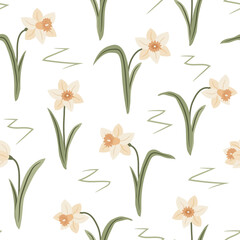 modern delicate spring floral seamless pattern with white daffodils