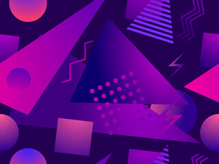 Gradient geometric seamless pattern in 80s style with memphis elements. Synthwave retro background. Retrowave. Background for printing on paper, advertising materials and fabric. Vector illustration