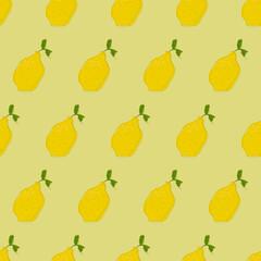 Seamless Abstract Lemon Pattern. Vector Seamless Yellow Lemon Pattern. Yellow Wallpaper And Lemons.