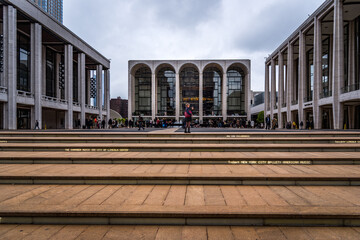 The Lincoln Center Plaza in NYC. Lincoln Ctr. is home to the Metropolitan Opera, NYC Ballet, NY Philharmonic, Avery Fisher Hall and the Juilliard School.