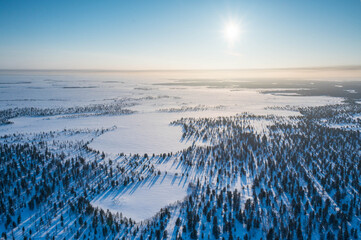winter taiga taken from a helicopter