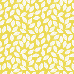 seamless background with leaves pattern, yellow color vector drawing