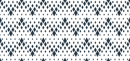 Rhomb seamless geometric vector pattern, rhombus simple black and white wallpaper background, ethnic folk embroidery or carpet style image.