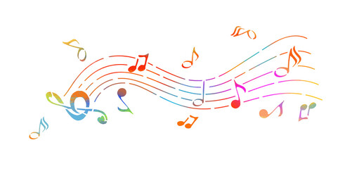 Abstraction of the note. Multicolored musical abstraction. Vector illustration
